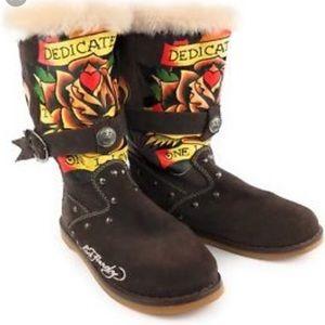 Ed Hardy dedication leather boots